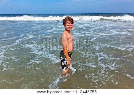 Happy Boy In The Ocean