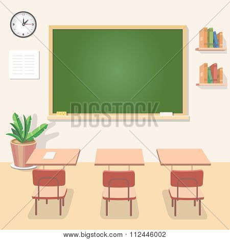 School classroom with chalkboard and desks. Class for education, board, table or study, blackboard