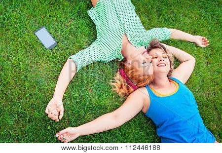 Two women enjoying in real life