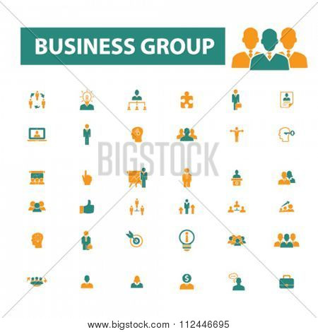 business group icons, businessman icon, team, leader, business community icons