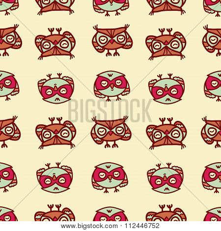 owls seamless pattern 2