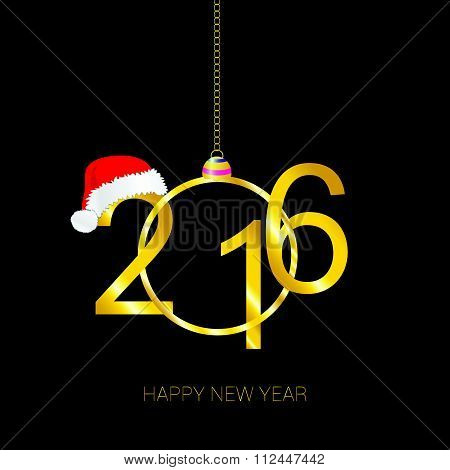 Happy New 2016 Year Vector With Red Hat