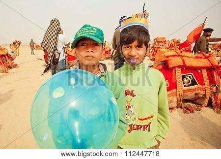 Happy Children Having Fun On Desert Carnival During The Desert Festival  In India