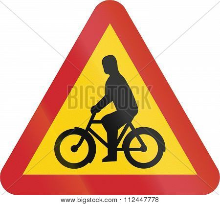 Road Sign Used In Sweden - Cyclists And Moped Riders On Carriageway