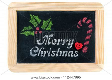 Wooden Frame Vintage Chalkboard With Merry Christmas Message And Hand Drawing Symbols