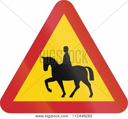 Road Sign Used In Sweden - Equestrian Horses