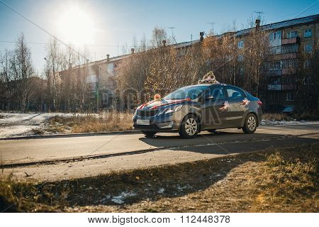 wedding car in sunny winter day