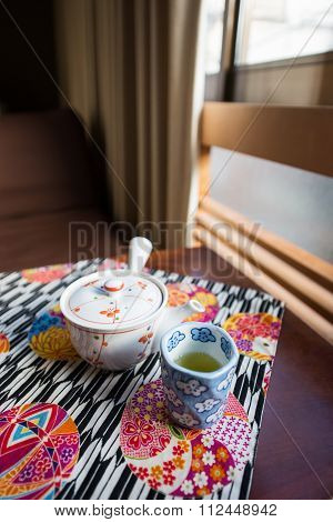 Morning Tea Set On The Table In Ryokan