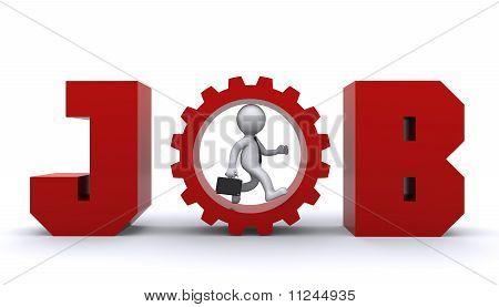 3D Man Running Up Inside Gear.  Business Development Concept
