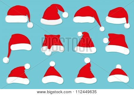 Santa Claus red hat set on blue