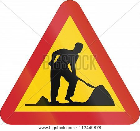 Road Sign Used In Sweden - Road Works