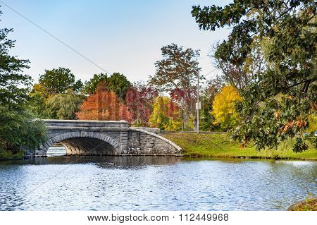 Stone Bridge Spanning Pond