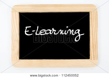 Vintage Chalkboard With Wooden Frame Isolated On White, Message E-learning