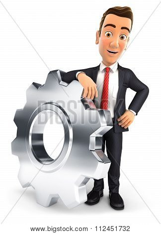 3d businessman leaning on a gear