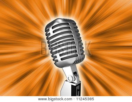 Microfone retrô de Metal sobre fundo