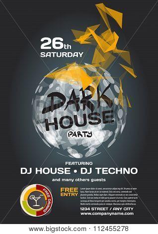 Vector Night Party Invitation Dark House Techno Style. Vector Te