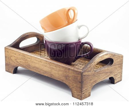 Coffee Cups On Wooden Tray Isolated On White Background