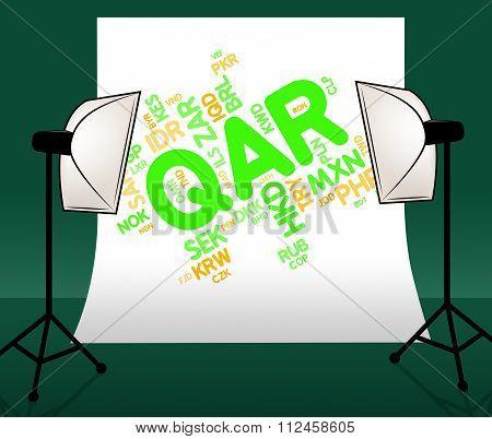 Qar Currency Indicates Qatari Rial And Currencies