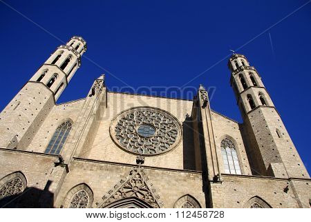 Barcelona, Catalonia, Spain - December 12, 2011: Church Santa Maria Del Mar (santa Maria By The Sea)