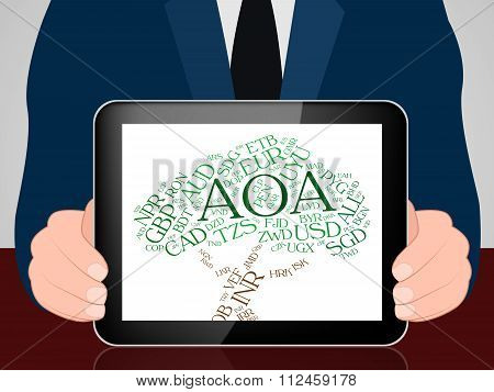 Aoa Currency Indicates Exchange Rate And Coin