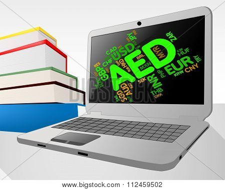 Aed Currency Indicates United Arab Emirates And Dirham