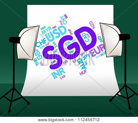 Sgd Currency Represents Foreign Exchange And Banknote