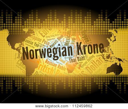 Norwegian Krone Shows Exchange Rate And Foreign