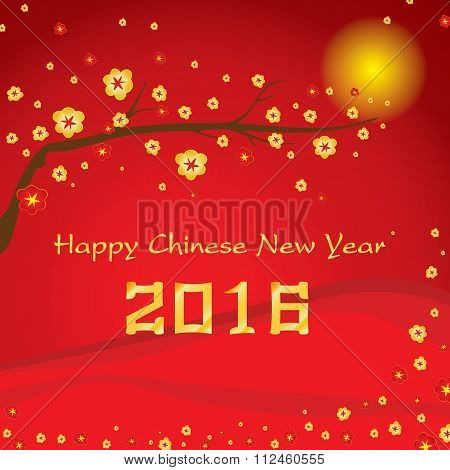 Happy Chinese New Year 2016 Card and colorful flower on red background.