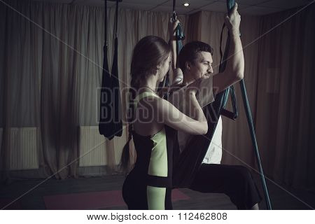 Instructor Helps To Perform The Correct Postur