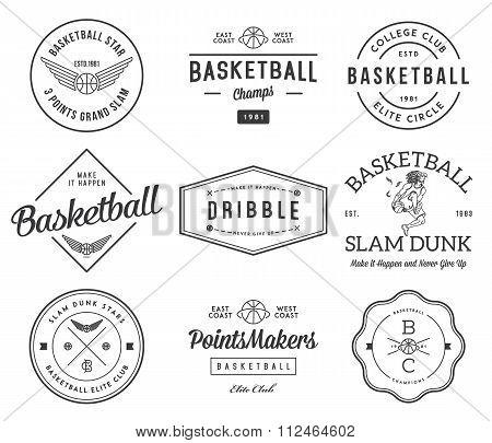 B-ball Badges Black On White