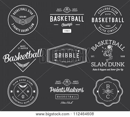 Basketball Badges White On Black