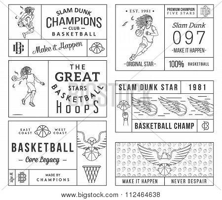 Basketball Labels Black On White