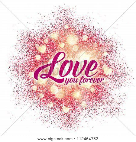 Love you forever sign on shining red glitter background