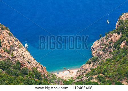Landscape Of South Corsica. Small Wild Beach