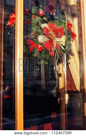 citylife on Christmas. Decoration of showcase outside street, gift card background