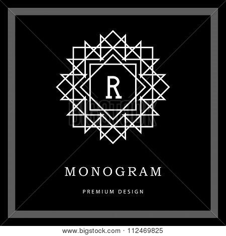 Geometric Monogram Logo. Abstract Vector Template In Trendy Mono Line Style. Letter Emblem R. Monoch