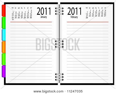 A notebook with a calendar