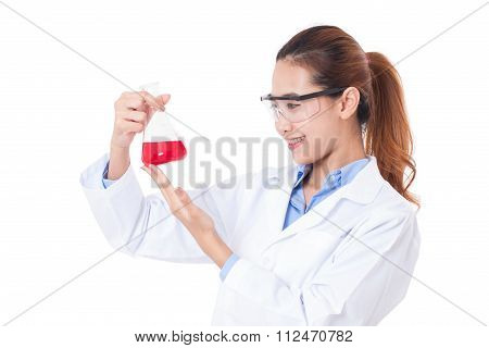 Medical or scientific researcher with flask making test or research on white background.