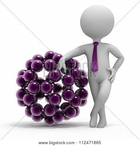 Small 3D Man And Fulleren Molecule Structure