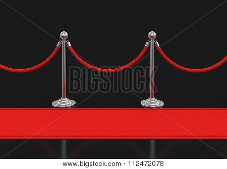 Red Carpet and stanchions. Image with clipping path