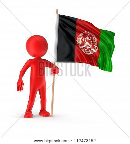 Man and Afghani  flag. Image with clipping path