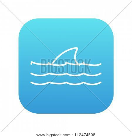 Dorsal shark fin above water line icon for web, mobile and infographics. Vector white icon on the blue gradient square with rounded corners isolated on white background.