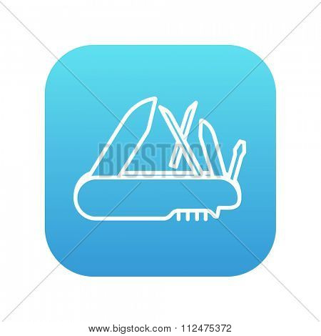 Multipurpose knife line icon for web, mobile and infographics. Vector white icon on the blue gradient square with rounded corners isolated on white background.