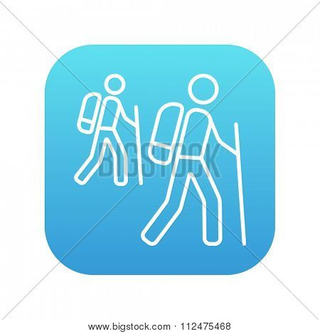 Tourist backpackers line icon for web, mobile and infographics. Vector white icon on the blue gradient square with rounded corners isolated on white background.