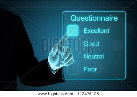 Business Hand Clicking Questionnaire On Touch Screen