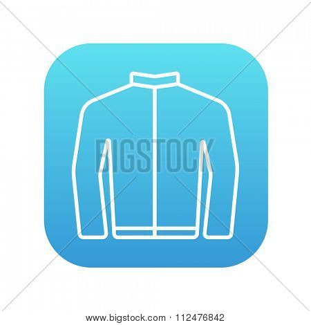 Biker jacket line icon for web, mobile and infographics. Vector white icon on the blue gradient square with rounded corners isolated on white background.