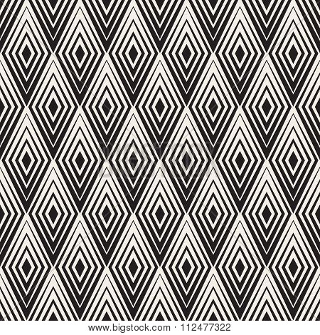 Vector Seamless Black And White Rhombus Shape Concentric Lines Geometric Optical Illusion Pattern