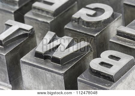 Old Lead Ink Printing Type