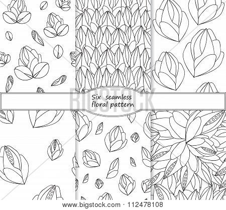 Set Of Stock Vector Seamless Doodle Floral Pattern. Black And White
