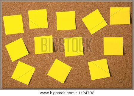 Post-Its On A Cork Board